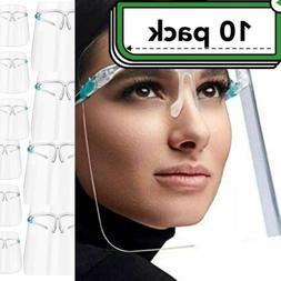 10 PACK Face Shield Guard Mask Safety Protection With Glasse