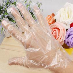 100x Disposable Clear Polythene PE Gloves Plastic Food Safe