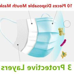 10Pcs Unisex Disposable Anti Dust Mouth Mask Breathable Safe