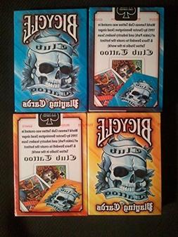 12 Deck Set Bicycle Club Tattoo Mix Blue & Yellow playing ca
