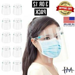 12 PACK Face Shield Guard Mask Safety Protection With Glasse