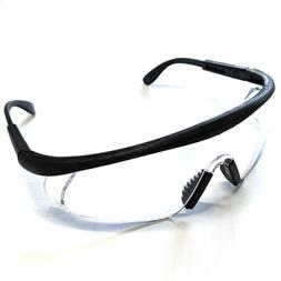 12 PAIR PACK Protective Safety Glasses Clear Lens Adjustable