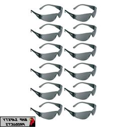 12 PAIR PACK Protective Safety Glasses Grey Smoke Lens Sungl