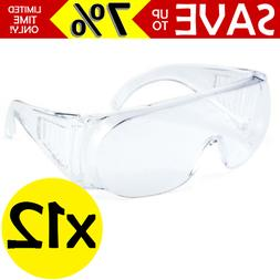 12x Safety Glasses Clear Polycarbonate Lenses Protective Gog
