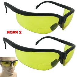 2 Pair Lot BIFOCAL Reading Safety SUNGLASSES Glasses Yellow