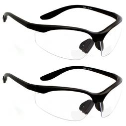 2 PAIR LOT Bifocal Safety Reading Glasses Clear Lens Reader