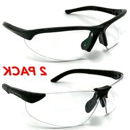 2 PAIR PACK Protective Safety Glasses Clear Lens Work UV ANS