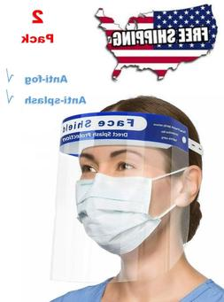 2 PCS Safety Full Face Shield Clear Protector Medical Dental