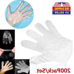 200Pack Plastic Food Safe Glove Disposable Clear Polythene P