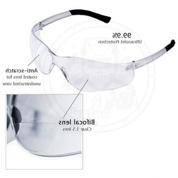 Bifocal Safety Glasses Clear 2.0 Diopter Reader Safety Glas