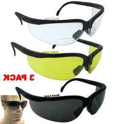 3 Pair Assorted Lot Bifocal Safety Reading Glasses Clear Len