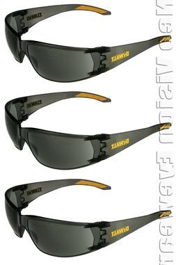 3 Pair/Pack Dewalt Rotex Smoke/Gray Safety Glasses Sunglasse