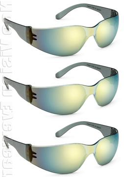 3 Pair/Pack Gateway Starlite Gold Mirror Safety Glasses Sun