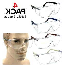4 pcs Safety Goggles Glasses Anti Fog Lens Clear Chemical Wo