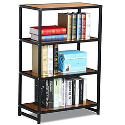 Topeakmart 4 Shelves Wide Bookcase Black Metal Frame Light B