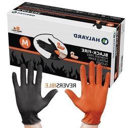 HALYARD BLACK-FIRE 44757 Nitrile Exam Gloves, Medium, Black/