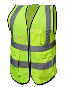 Misslo 5 Pockets High Visibility Zipper Front Safety Vest wi