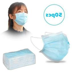 50PCS 3-Ply Disposable Face Mouth Shield Dust Anti Fog Dust