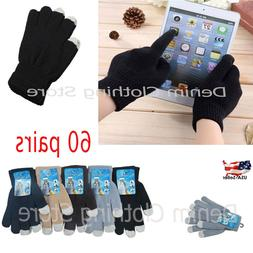 60pairs Men's Women Magic Winter Gloves Touch Screen Smart P