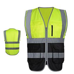 JKSafety 7 Pockets Class 2 High Visibility Zipper Front Safe