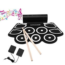 OCDAY 9 Pad Portable Electronic Drum Set Portable Drum Pract
