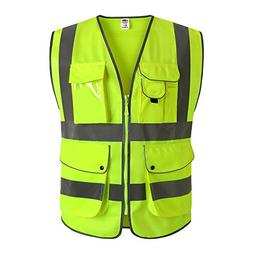 J.K 9 Pockets Class 2 High Visibility Zipper Front Safety Ve
