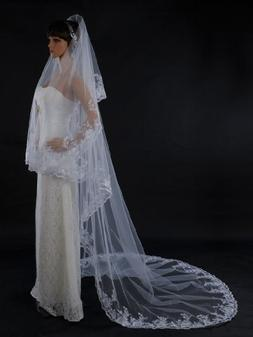 Topwedding White 1 Tier Cathedral Length Voile Wedding Veil
