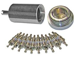 Access Valve Core Remover Installer + 10 Replacement Cores f