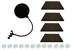 Pop Shield And Acoustic Foam For Studio Microphone Recording