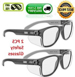 2 x Anti Fog Scratch Resistant Worker Safety Clear Glasses P
