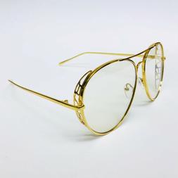Aviator Fashion Oversized Designer Clear Lens Gold Metal Fra