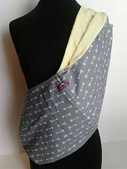 Baby Sling, Baby Carrier, Gray Arrows Yellow Lining