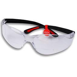 FastCap Bifocal Safety Glasses, +3.0