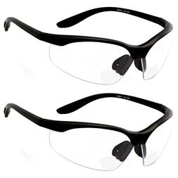 2 Pairs Bifocal Safety Glasses Clear Lens with Reading Corne
