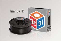 IC3D Black 1.75mm PLA 3D Printer Filament - 2.1lb Spool - Di