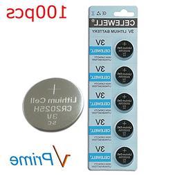 CELEWELL Bulk 100 Pack CR2025 3V Battery Lithium Coin Cell 1