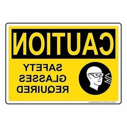 Caution Safety Glasses Required OSHA Safety Label Decal, 5x3