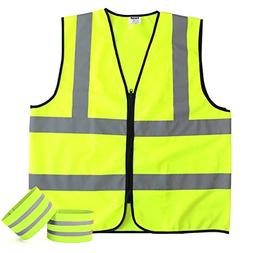 Fnova Class 2 High Visibility Zipper Front Safety Vest Refle