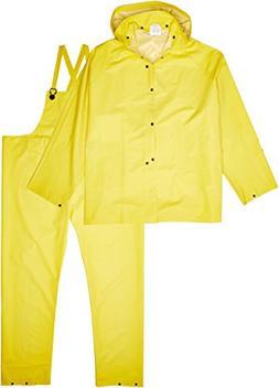 MCR Safety 2003X7 Classic PVC/Polyester 3-Piece Rainsuit wit