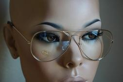 CLASSIC VINTAGE RETRO AVIATOR CLEAR Lens Gold Metal Frame Ey