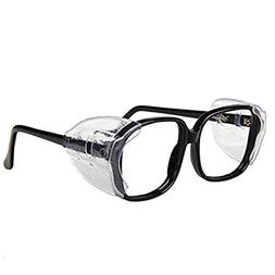 Auony 2 Pair Clear Safety Glasses Side Shields, Slip On Clea