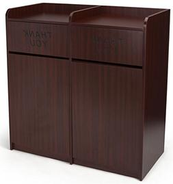 Displays2go Commercial Double Waste Bin with Wood Finish, La