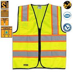 KwikSafety Construction ANSI Safety Vest | Front Zipper Cont