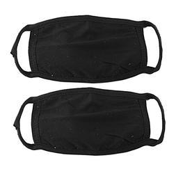 2 Pcs Cotton Blend Anti Dust Face Mouth Mask Black for Man W