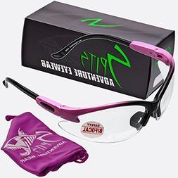 Spits Cougar BIFOCAL Safety Glasses - Pink/Black Frame - Cle