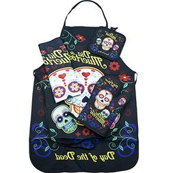 Day of the Dead Sugar Skull Kitchen Apron Set - Created for