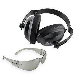 EAR MUFFS EYE HEARING PROTECTION SET PHONES SAFETY GLASSES S