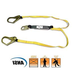 KwikSafety Fall Protection Safety Lanyard Shock Absorbing wi