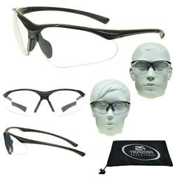 Full Lens Reader Safety Glasses Clear Sport Wraparound Curve
