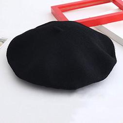 Girls' Pure Color Wool Warm Beret Beanie Hats French Women S